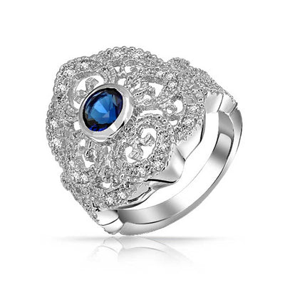 Boho Blue CZ Filigree Heart Armor Full Finger Ring Silver Plate Brass