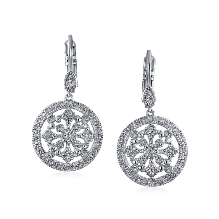 Shield Circle Round Compass CZ Prom Dangle Earrings Silver Plated