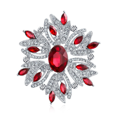 Large Statement Vintage Style Crystal Flower Red White Brooch Pin