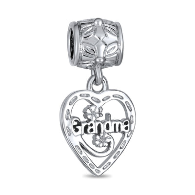 Vintage Style BFF WORD Grandma Heart Shape Dangle Charm Bead Silver
