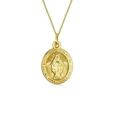 14K Yellow Gold Virgin Mary Pendant Yellow Gold Chain Necklace