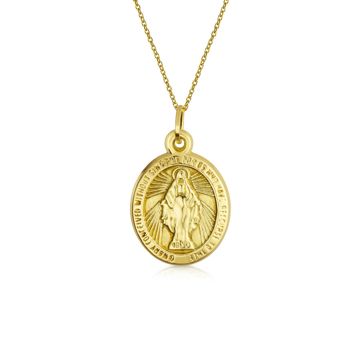 14K Yellow Gold Religious Metal Virgin Mary Pendant Chain Necklace