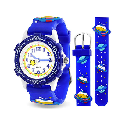 Astronaut Waterproof Wrist Watch Time Quartz Blue Silicone Dial