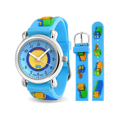 Teacher Time Quartz 3D Construction Toy Truck Wrist Watch