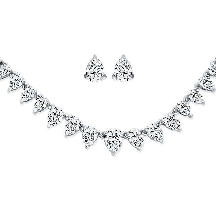 Bridal Graduated Teardrop AAA CZ Necklace Earrings Set For Wedding