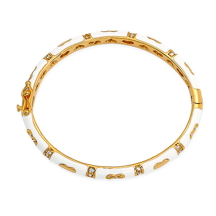 Bangle Bracelet White CZ Pave Hearts Gold Plated For Small Wrists