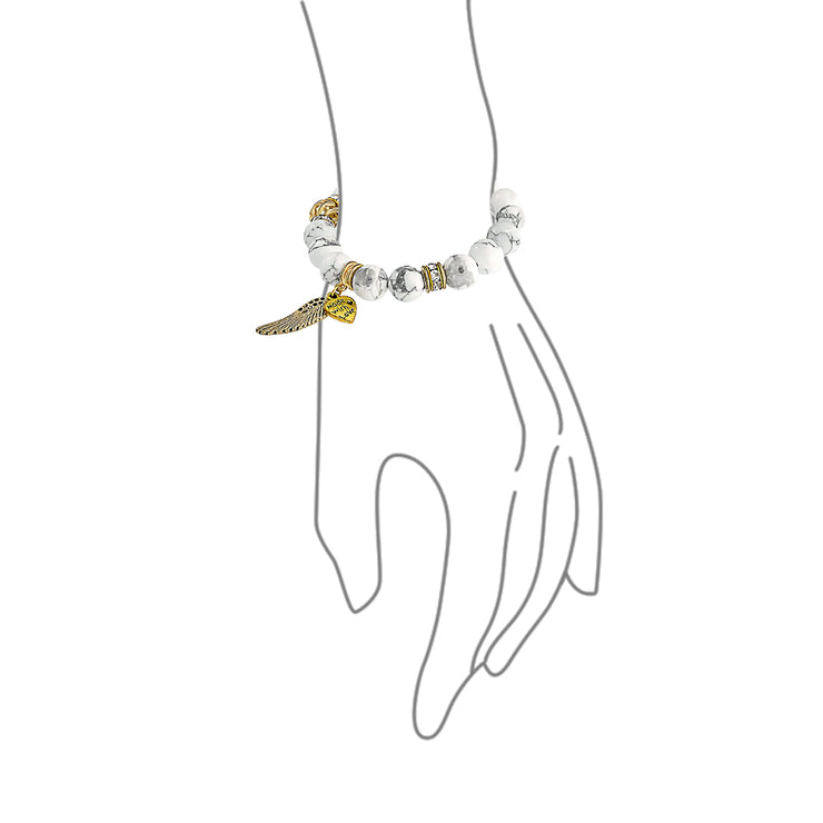 Angel Wing Stretch Bracelet Bead Howlite Charm Gold Plated Alloy