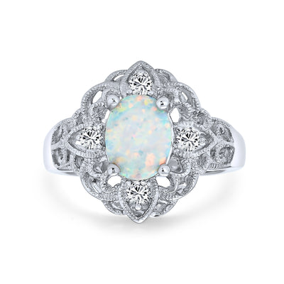 Oval Flower White Created Opal Full Finger Ring 925 Sterling Silver