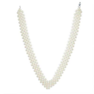 Bridal Collar Necklace V Shaped Simulated Pearl Rhodium Plated 16 Inch