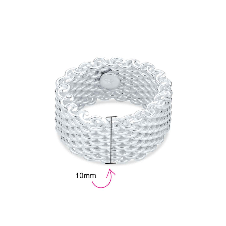 Wide Woven Mesh Band Ring Men Women Weave Braided 925 Sterling Silver