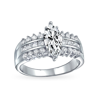 2CT 3 Row Sterling Silver AAA CZ Solitaire Marquise Engagement Ring