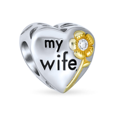 Heart My Wife 2 Tone CZ Charm Bead Gold Plated .925 Sterling Silver