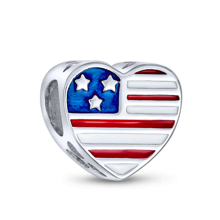 Patriotic Military Wife USA Flag Charm Bead 925 Sterling Silver