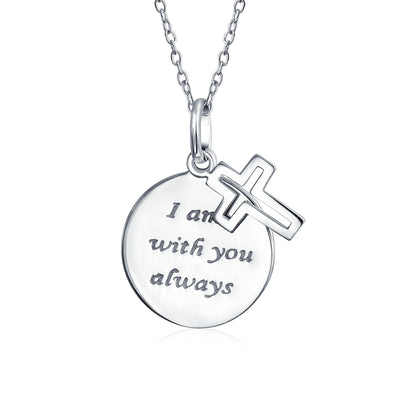 Circle Cross I Am You WORD Quote Pendant Necklace 925 Sterling Silver