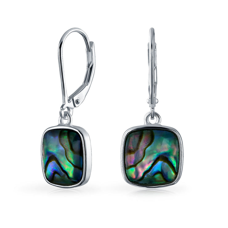 Shell Iridescent Abalone Square Drop Earrings 925 Sterling Silver