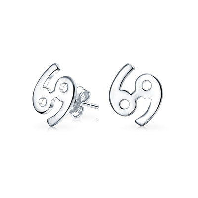Zodiac Horoscope Birth Month Symbol Stud Earrings 925 Sterling Silver