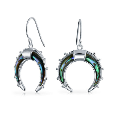 Celestial Crescent Moon Abalone Dangle Drop Earrings Sterling Silver