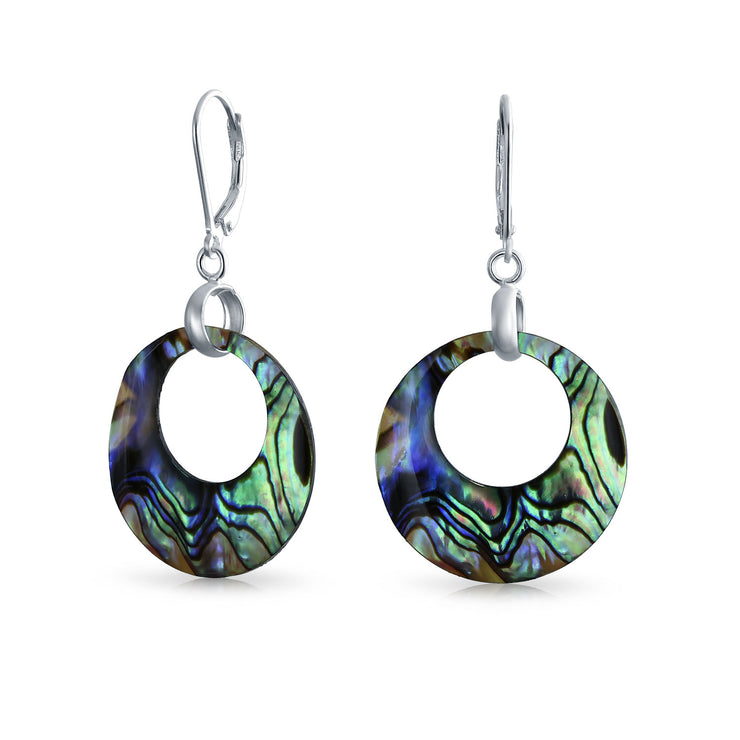 Abalone Round Open Circle Hoop Leverback Earrings Sterling Silver