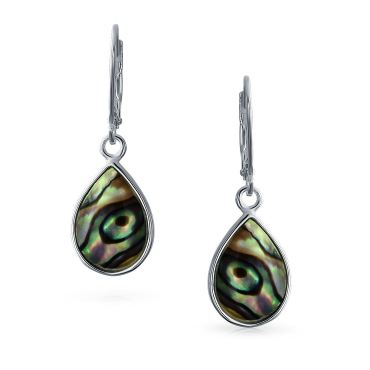 Abalone Rainbow Teardrop Leverback Dangle Earrings Sterling Silver