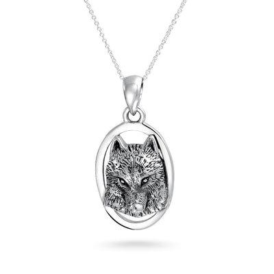 Norse Wolf Necklace Pendant Dog Lover Amulet Necklace Sterling Silver