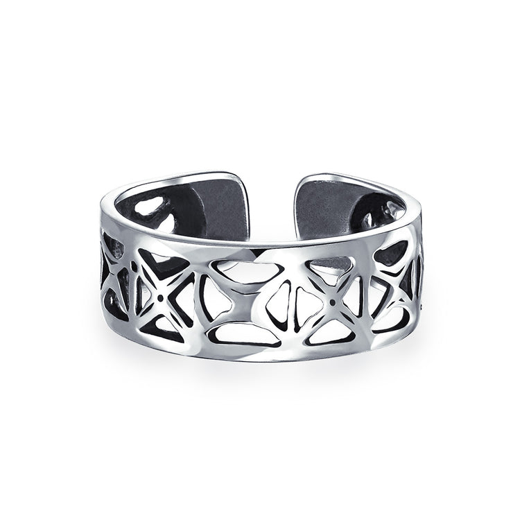 Cut-Out Open X Filigree Wide Midi Band Toe Ring 925 Silver Sterling