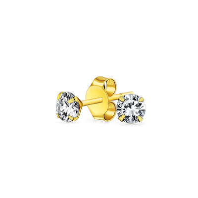 REAL 14K Gold .40CT Round Cubic Zirconia Solitaire CZ Stud Earrings