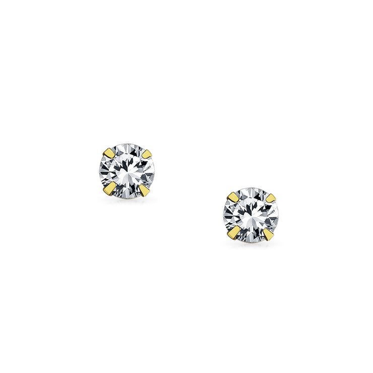 REAL 14K Yellow Gold 2.5CT Cubic Zirconia Solitaire CZ Stud Earrings