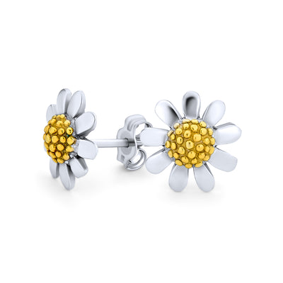Daisy Flower Stud Earrings Tone Gold Plated 925 Sterling Silver