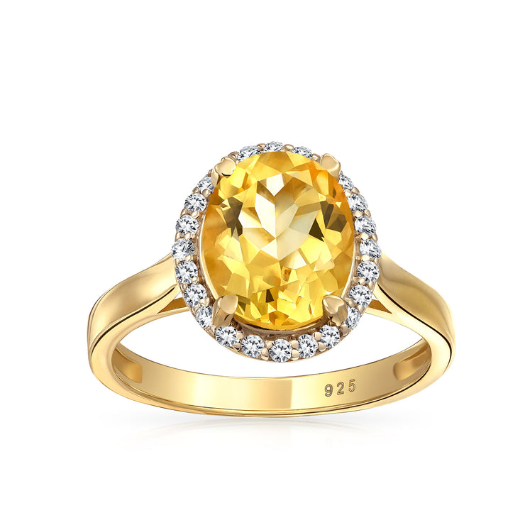 3CT Gemstone Yellow Citrine Zircon Halo Ring 14K Gold Plated Silver