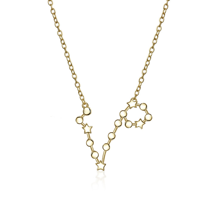 Constellation Stars Horoscope Zodiac Necklace 14KT Gold Plated Pendant