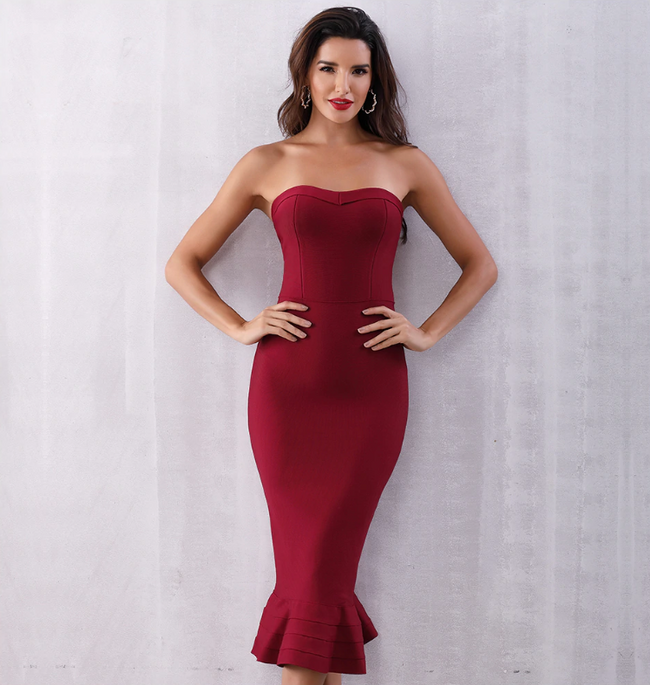 Luna wine  bandage dress