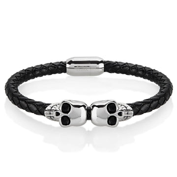 Stainless Steel Skulls Leather Unisex Bracelet