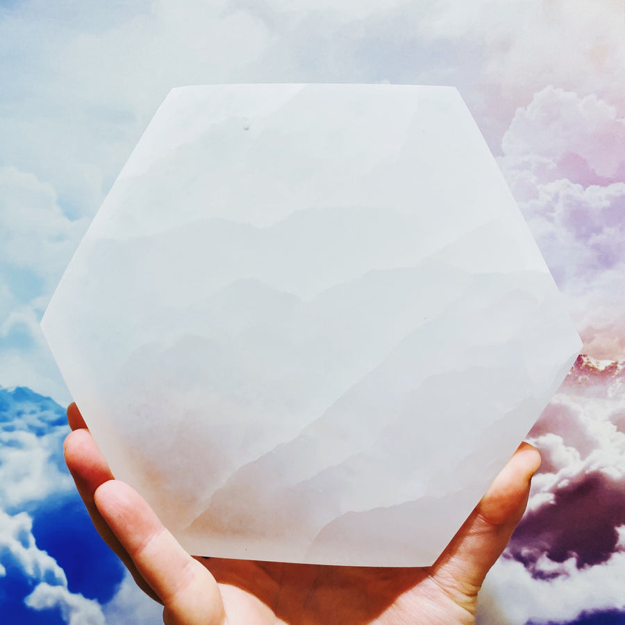 "5.75"" Hexagon Selenite Charging Plate"