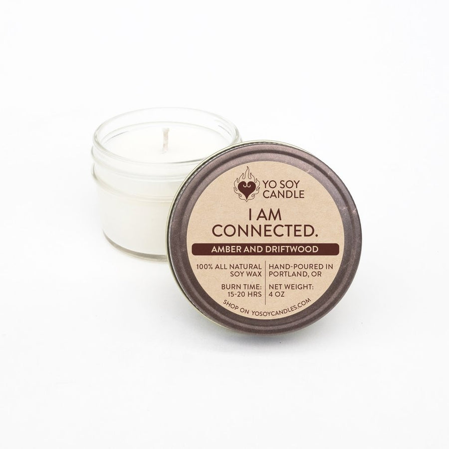 I AM CONNECTED: Amber & Driftwood Soy Mantra Candle