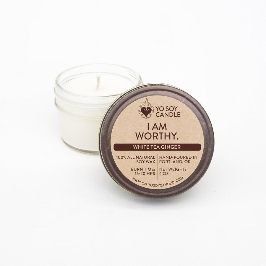 I AM WORTHY: White Tea Ginger Soy Mantra Candle