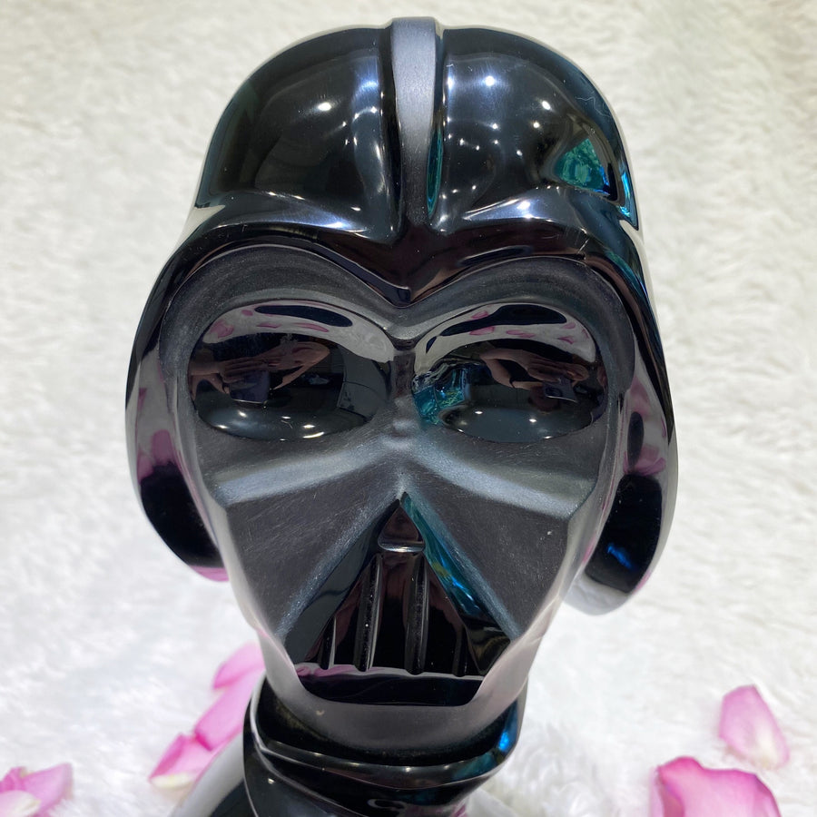 Black Obsidian Darth Vader Style Crystal Skull Sculpture