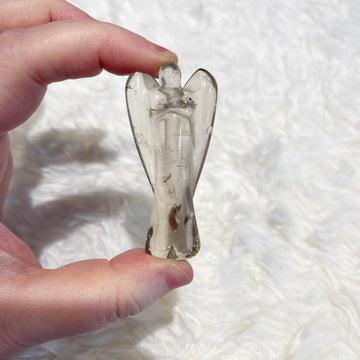 Smokey Quartz Crystal Angel Carving from Brazil