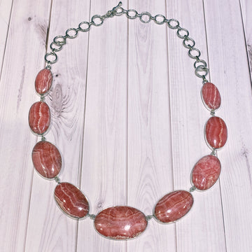 Rhodochrosite Gemstone Necklace with Sterling Silver