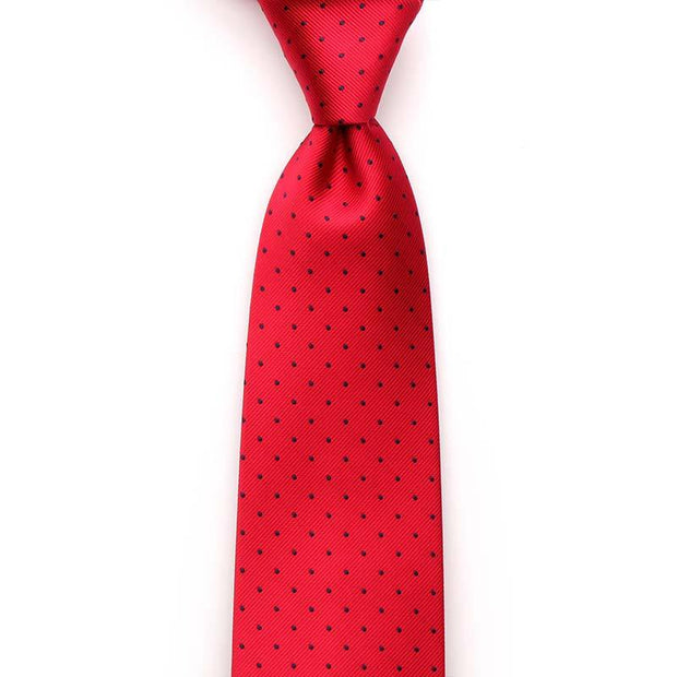 Red Navy Polka Dot Microfiber Tie