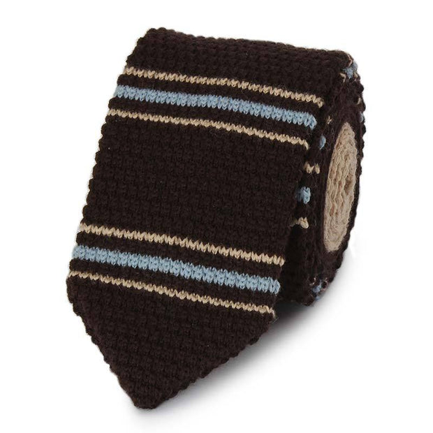 High Quality Wool Brown Striped Knitted Tie