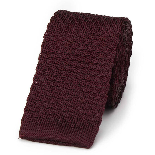 Burgundy Knitted Tie