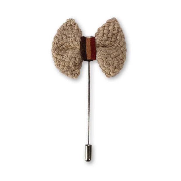 Cotton Flaxen Bowknot Lapel Pin
