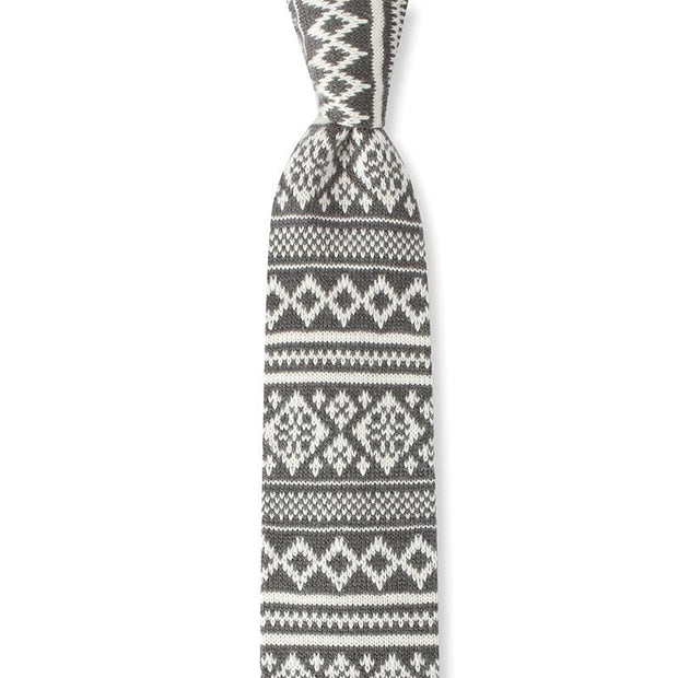 Wool Knitted Christmas Tie In Grey