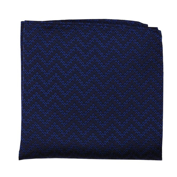 Classic Wave Pattern Pocket Square In  Silk Wool Blend
