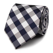 Navy Check Polyester Tie