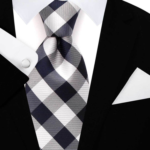 Navy Check Polyester Tie Set