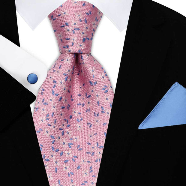 Pink Flower Silk Tie Set