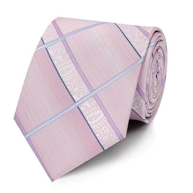Striped Checked Pink Tie-Side
