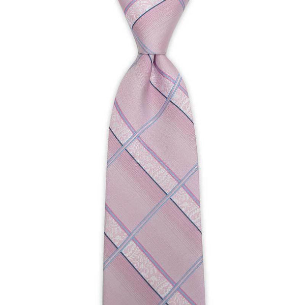 Striped Checked Pink Tie-Front