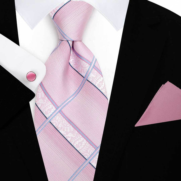 Striped Checked Pink Tie-Main